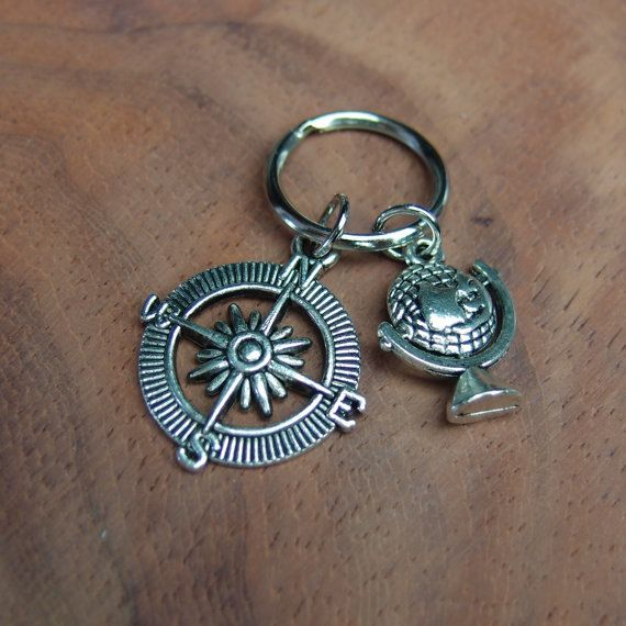 SALE open compass and world globe keychain, gift for world traveler, compass, around the world keychain, Best Friends gift, travel keepsake
