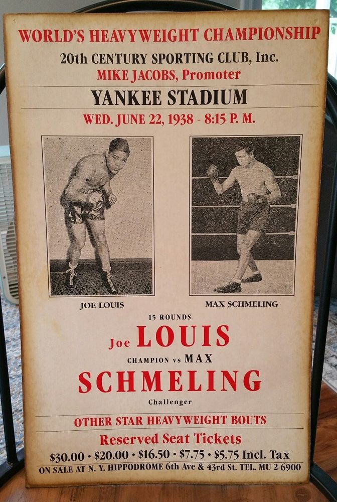 1938 Joe Louis vs. Max Schmeling Poster Heavyweight Boxing Fight Yankee Stadium