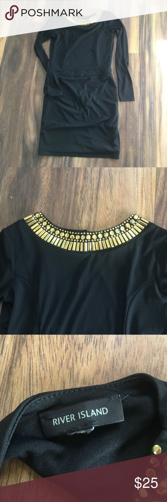 FLASH SALE👏🏽💥Black Dress + Gold Collar RIVER ISLAND BRAND!  Black Dress + Gold Embellished Collar Size cut off, but it's a MEDIUM PERFECT CONDITION - worn once for NYE Open Back Long sleeves River Island Dresses Long Sleeve