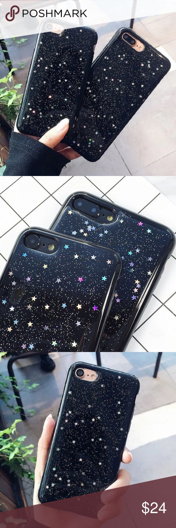 "Black sparkly star iPhone 6/6s - 7 - Plus case •sizes:  iPhone 6/6s (4.7"") iPhone 7 (4.7"") iPhone 6 Plus (5.5"") iPhone 7 Plus (5.5"")  •flexible silicone   •phone not included   •no trades    *please make sure you purchase the correct size case. i am not responsible if you purchase the wrong size  item #: 119 B-Long Boutique  Accessories Phone Cases"