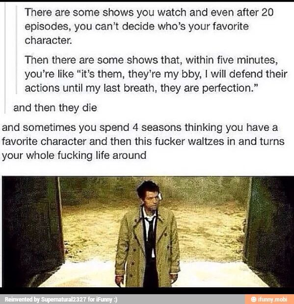 CASTIEL fucking things up the adorable little shit <-- I can have two favorites right?