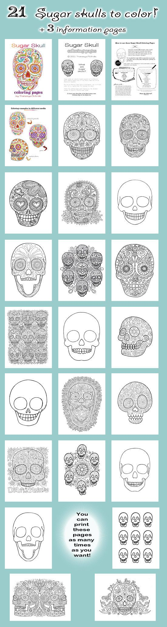 Sugar Skull coloring pages. Not free, but once you have it, you can print however many times you want