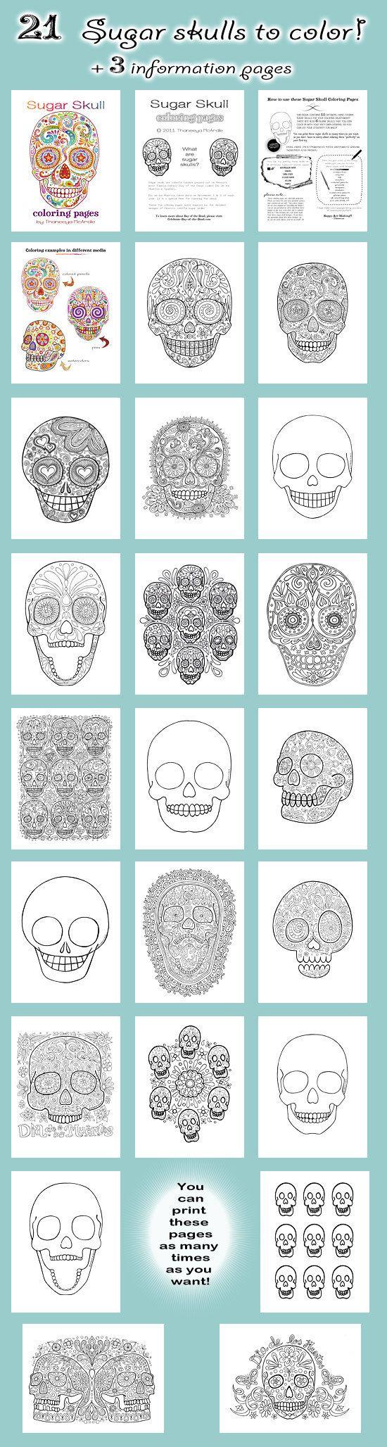 Sugar Skull Coloring Pages  21 Printable PDF Blank by thaneeya, $15.00