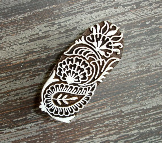 Indian Printing Block, Hand Carved Wood Stamp, Paisley Flower Leaf, Wooden Ceramic Clay Pottery Textile Stamp, Mehndi Henna Tattoo, India, by DelhiDaze, $12.00