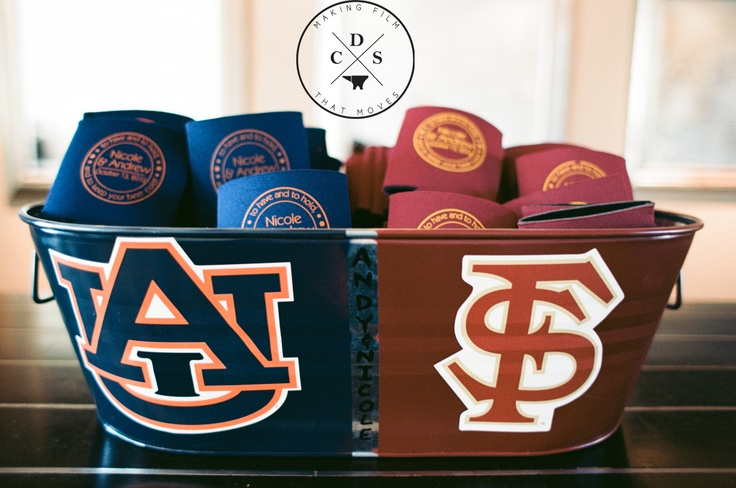 """House Divided wash tub with coozies for bride and groom. Select which """"team"""" you prefer!"""