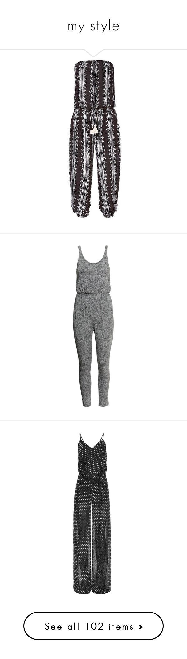 """my style"" by simpsonizer0718 ❤ liked on Polyvore featuring jumpsuits, strapless jumpsuit, beach jumpsuit, jump suit, rompers, dresses, playsuits, one piece, dark grey marl and h&m romper"