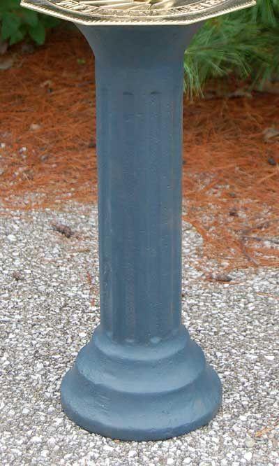 """Rome Cast Iron Roman Pedestal, Antique Gray, 20"""""""