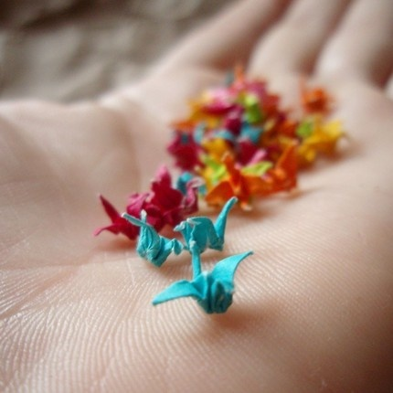 Teeny tiny paper cranes