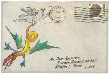 an illustrated envelope from an upcoming show at the Gorey house. ahhhh, real letters