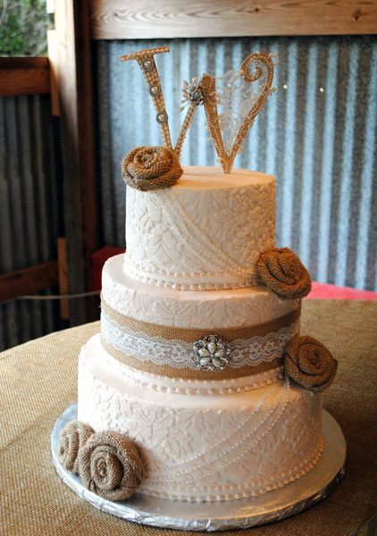 600x600 1416261383268 vintage damask wedding cake burlap pearl wooden w                                                                                                                                                                                 More