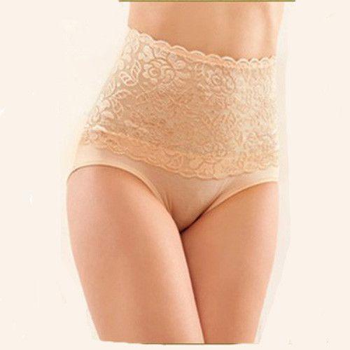 Women modal high waist Sexy lace belly in Carry buttock briefs underwear