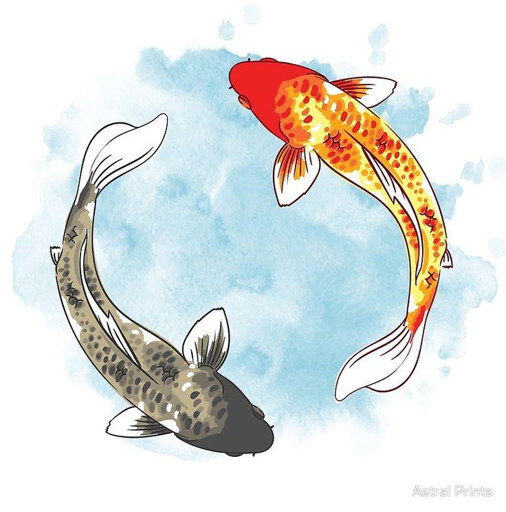 Koi Fish Yin Yang Canvas Print By Astral Prints Watercolor Fish Fish Illustration Koy Fish Drawing