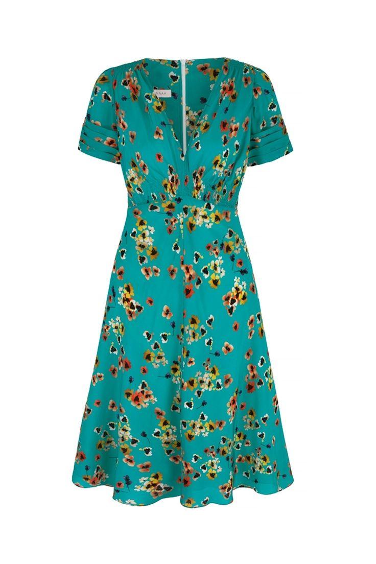 Vintage 30s Style Tea Dress in Pansy Ocean Print