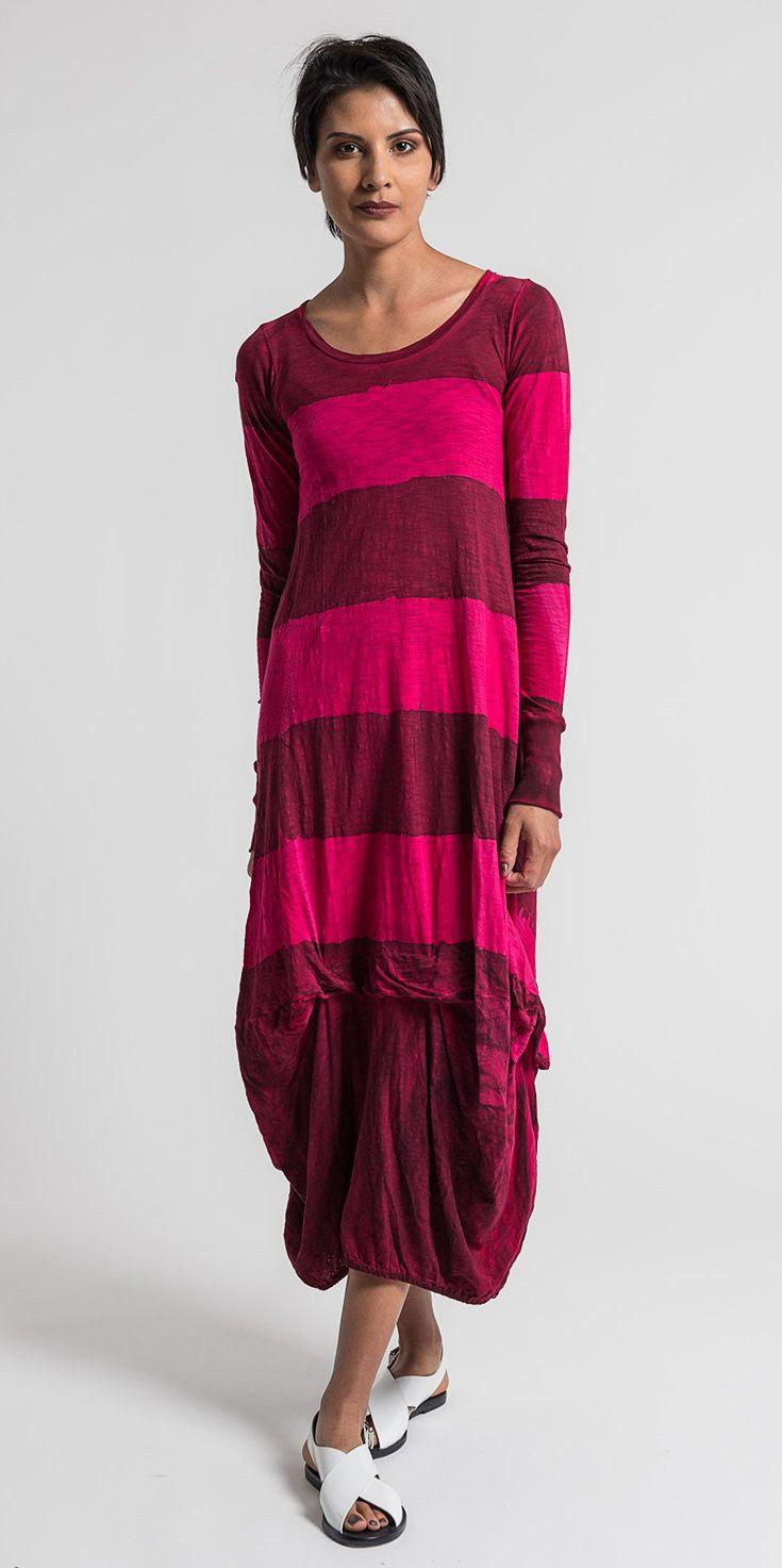 Gilda Midani Pattern Dyed Long Balloon Dress in Pink/Blood | Santa Fe Dry Goods & Workshop #gildamidani #striped #stripes #pattern #dyed #dress #pink #raspberry #ss17 #spring #summer #casual #santafe #santafedrygoods