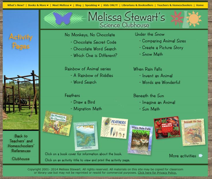 Activities for this book: http://www.melissa-stewart.com/sciclubhouse/teachhome/activities.html