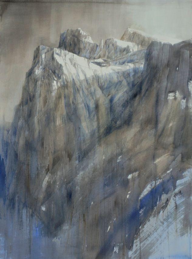 Silvia De Bastiani, Pale grigio, 161x115 cm, watercolor Dolomiti nature contemporary art Salamon Gallery