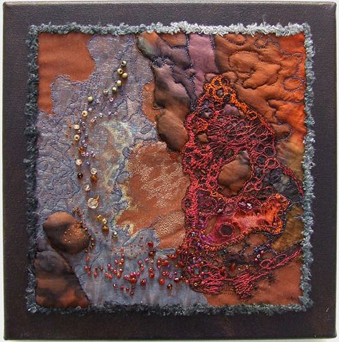 "ignatious-rockpools by Helen Suzanne...piece measures 12"" x 12"" and is created mostly from hand-dyed silk with machine embroidery and beading."
