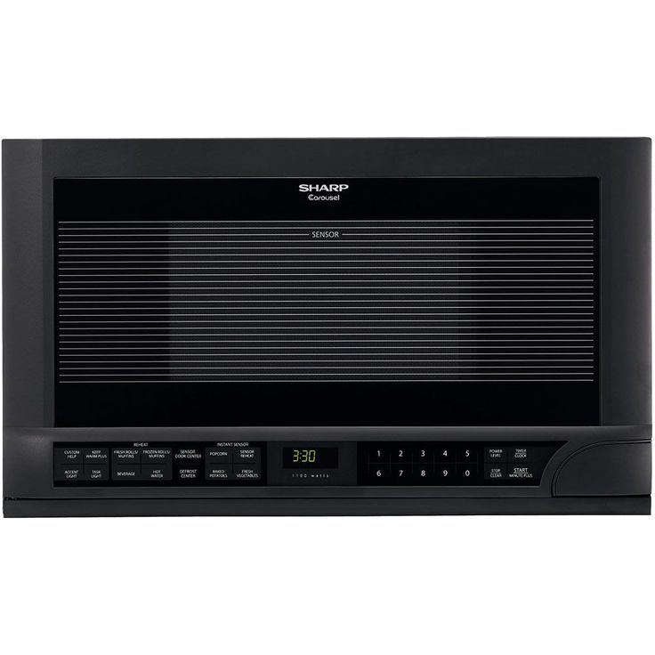 Sharp R1210T Over the Counter Microwave Oven 1100 Cooking Watts in Black