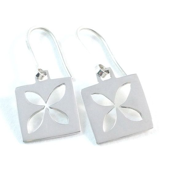 Square flower sterling silver earrings by MapleflyDesign on Etsy