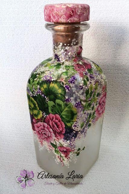 499 best decoupage bottle vase images on pinterest for Liquor bottle vases