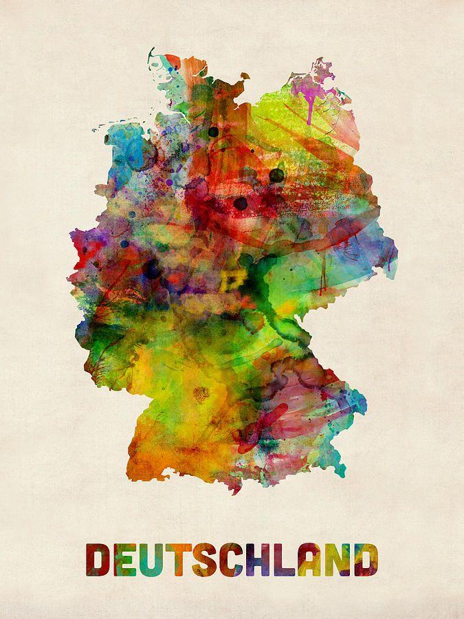 Germany Watercolor Map Deutschland Digital Art by Michael Tompsett