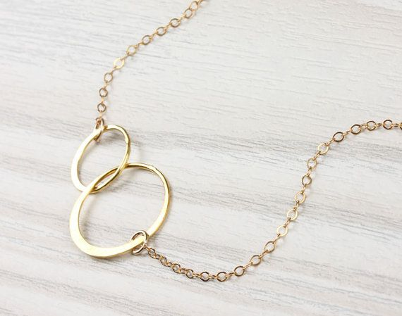 Double circle necklace infinity necklace gold by OlizzJewelry, $28.99