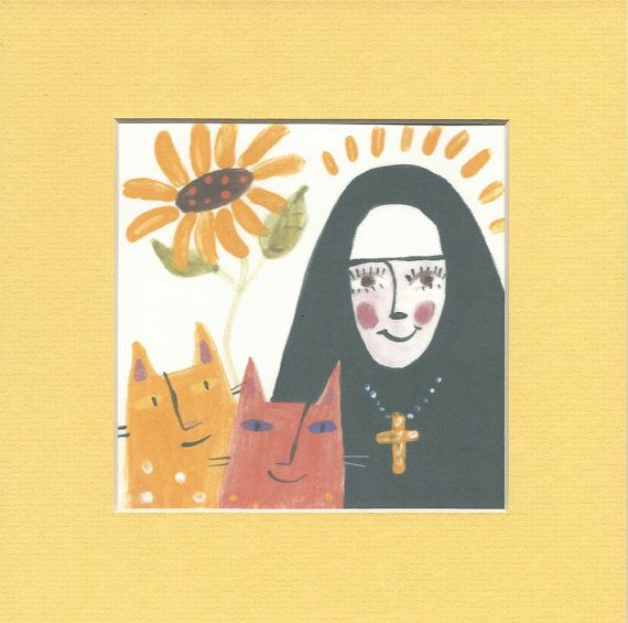 St. Gertrude's Cats  (8x8 Matted Print by KathrynBlackmun on Etsy) / St. Gertrude: Patron Saint of Cats, Gardeners and those Suffering with Mental Illness