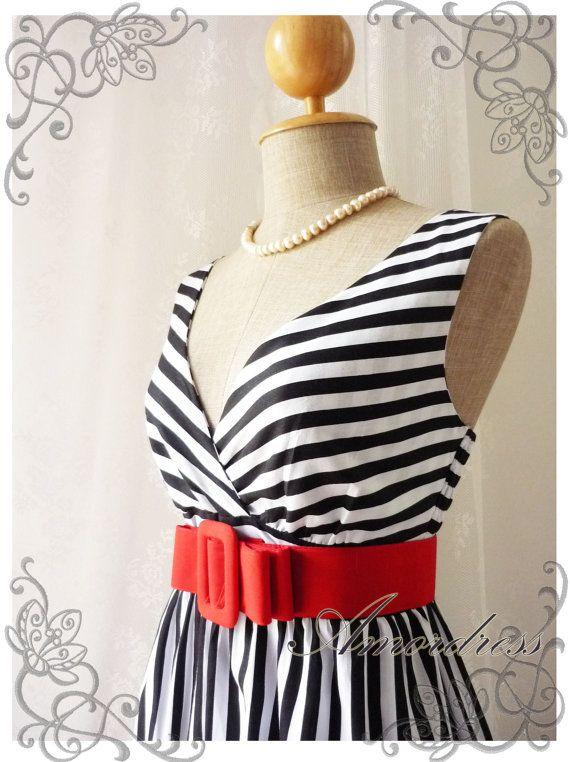 Summer Dress Tea Dress Black White Stripe Dress High Waisted Vintage Inspired Dress Party Cocktail Garden Dress Nautical Navy Dresses -S-M-