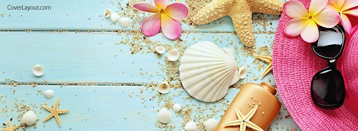 Seashells Beach Hat and Sunglasses Facebook Cover coverlayout.com