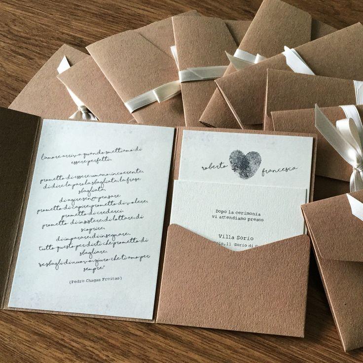 Annunci di matrimonio su buste pocketfold in carta kraft!!