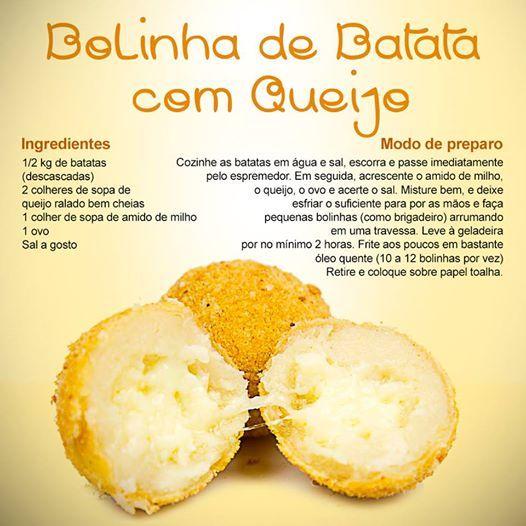 Mais uma receita para vocês experimentarem! Bolinha de batata com queijo, uma delícia! Fique de olho em nossas postagens (;