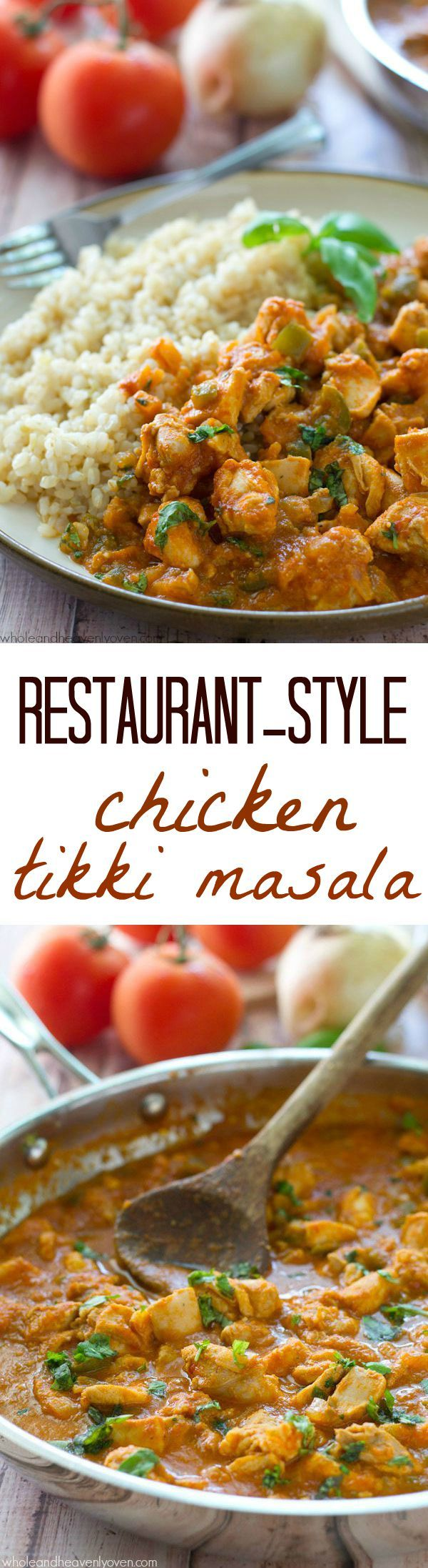 Chicken thighs are marinated in a flavorful, spiced yogurt marinade, then grilled and thrown into an incredible made-from-scratch tikki masala tomato sauce.---Serve with rice for a winner weeknight dinner! @WholeHeavenly