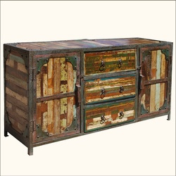 Industrial Multi Color Iron U0026 Reclaimed Wood Sideboard Buffet