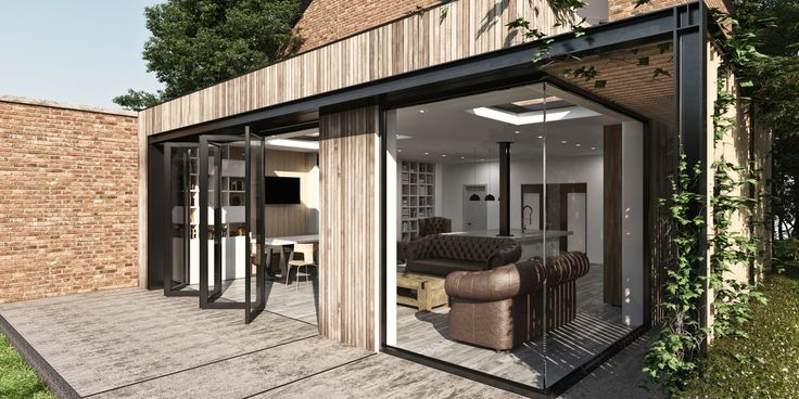 THORPE LEA ROAD  This extension project provides a spacious open plan kitchen dining area with a connection to their garden.  The scheme features timber cladding, a sedum roof, bi-fold doors and corner glazing unit.