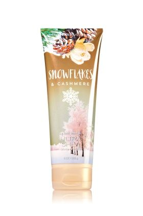 Snowflakes & Cashmere - Ultra Shea Body Cream - Signature Collection - Bath & Body Works - Infused with luxuriously rich Shea Butter, our Ultra Shea Body Cream provides 24 hours of nourishing moisture. With soothing Aloe Butter, pampering Cocoa Butter and more Shea than ever before, our non-greasy formula melts into skin to provide beautiful fragrance and all day, all night hydration.