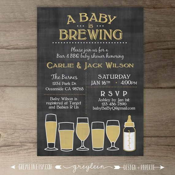 Baby is Brewing • BaByQ Baby Shower Invitation • guy friendly • co-ed BBQ baby shower • DIY Printable chalkboard Invitation • beer glasses and baby bottle • by greylein