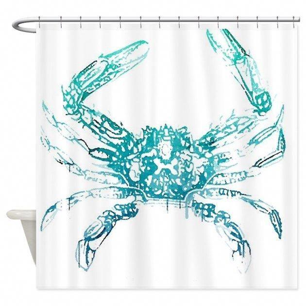 Coastal Nautical Beach Crab Shower Curtain By Focusedonyou