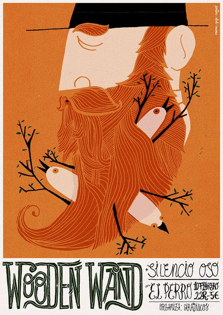 ginger beard.: Bathroom Design, Graphics Design Illustrations, Art Illustrations, Wooden Wands, Posters Design, Beards Design, Abel Cueva, Bands Posters, Beards Art