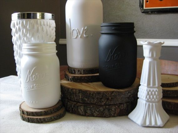 how to paint a mason jar--all the ways (tinted, paint inside, hot glue gun letters etc.) on one site!