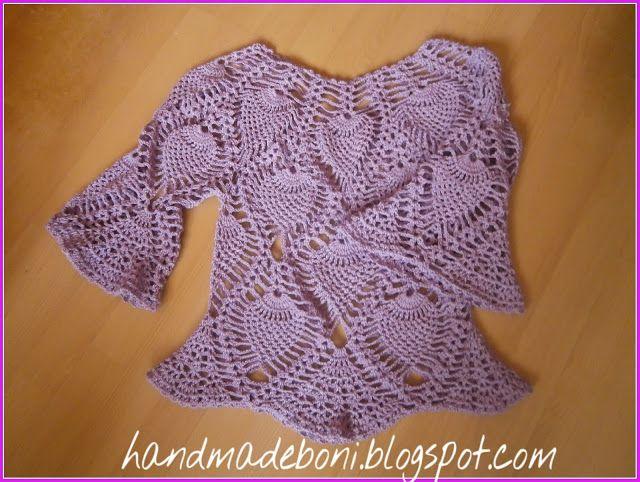 HandmadeBoni: Szydełkowa liliowa bluzka. Opis krok po kroku. Czę...