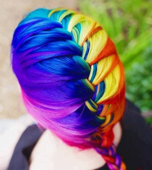 RAINBOW FRENCH BRAID | RAINBOW COLORS | Pinterest | Summer ... Rainbow Braids