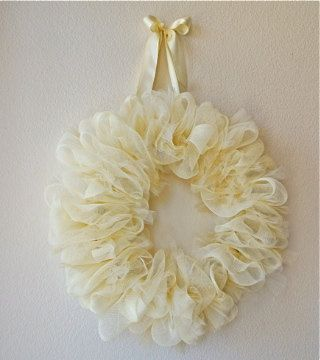 Simply...Beautiful Antique White Mesh Ribbon and Tule Wreath. $45.00, via Etsy.
