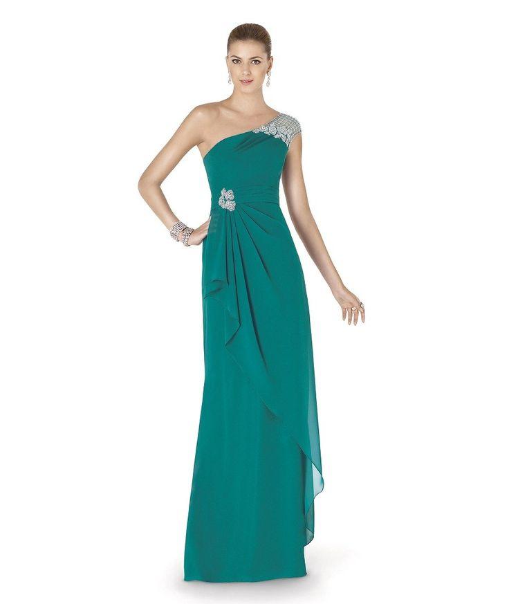 Festliches One Shoulder Abendkleid in Grün