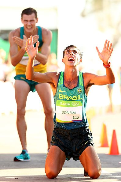 Caio Bonfim of Brazil reacts after placing fourth in the Men's 20km Race Walk…