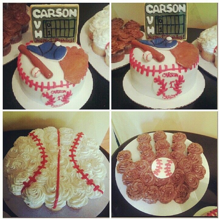 Baseball cupcakes, baseball glove cupcakes and a smash cake