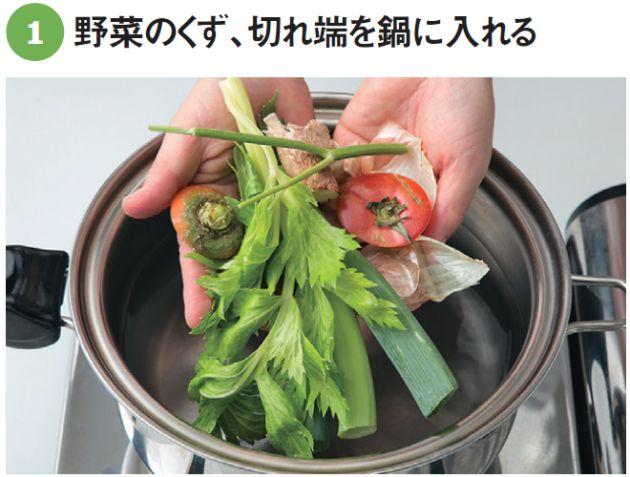 必要なのは、両手いっぱいの野菜くずに酒と水だけ。弱火で煮出せば、野菜のくずは次第に栄養満点の「お宝スープ」に姿を変える。この野菜から取るだしの「ベジブロス」には、「ファイトケミカル」という機能成分が満載なのだ。 「抗酸化作用があり免疫力…[2ページ目]