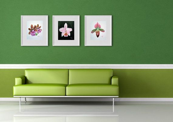 Pink ORCHID PAINTING SET Tribal art exotic flower by PilipArt, $150.00