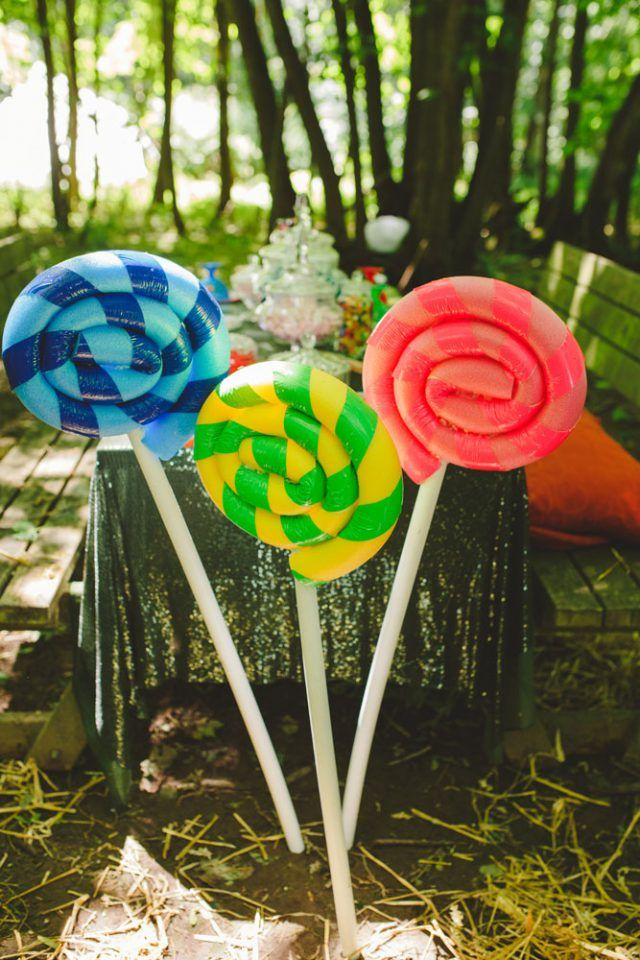 Giant Lollipops made from pool noodles
