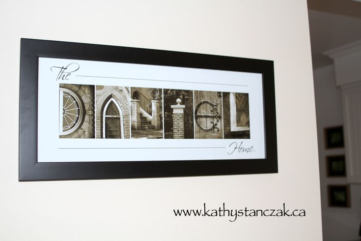 Family name DANIEL is created using whimsical Alphabet Art photographs.  Any word or name can be created, please visit www.kathystanczak.ca to request a proof or to see more examples.