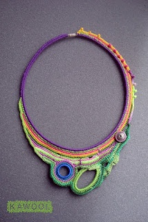 Beautiful! [Necklace] Freeform crochet by Catherine Pareira of Kawool I could use some of these ideas for a beadwoven free-form peyote necklace.